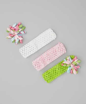 White & Pink Korker Bow Headband Set