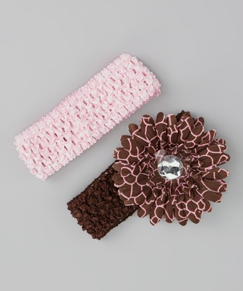 Brown & Pink Daisy Bow Headband Set