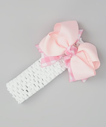 White & Pink Bow Headband Set