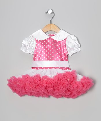 Hot Pink & White Polka Dot Petti Dress - Infant & Toddler