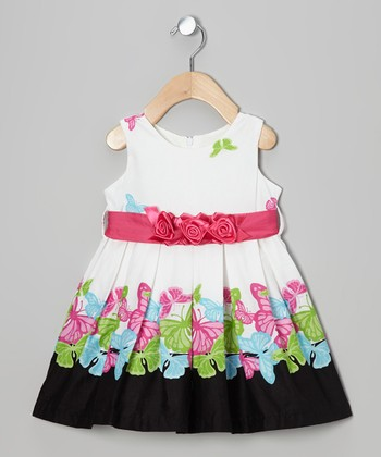 White Summer Butterfly Dress - Infant & Toddler