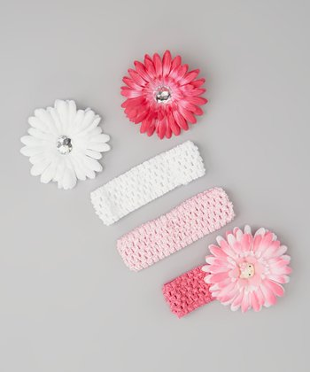 Pink Daisy Headband Set