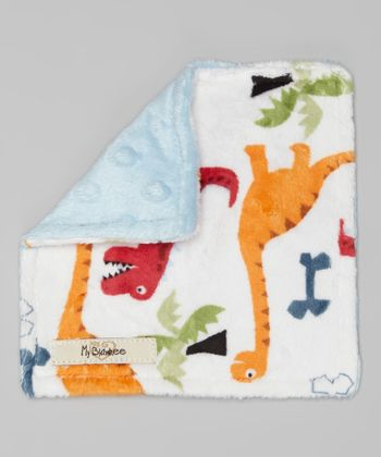 White & Blue Dinosaur Velour Crinkleez Lovey
