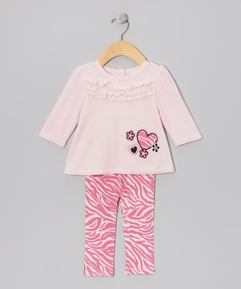 Pink Heart Velour Tunic & Leggings