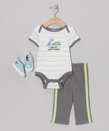 Gray 'Best Dino Dudes' Bodysuit Set - Infant