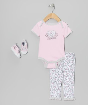 Pink Vintage Heart Bodysuit Set - Infant