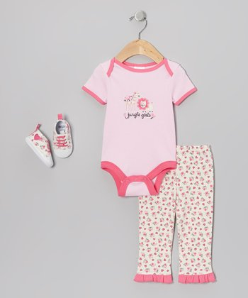 Pink 'Jungle Girls' Bodysuit Set - Infant