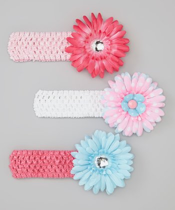 Pink & Aqua Daisy Crocheted Headband Set