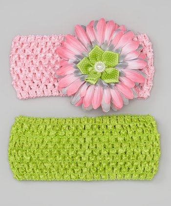 Pink & Lime Daisy Headband Set
