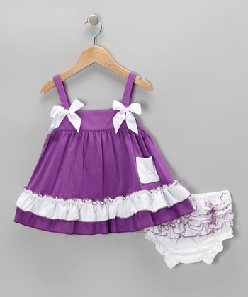 Purple Swing Dress & Bloomers - Infant & Toddler