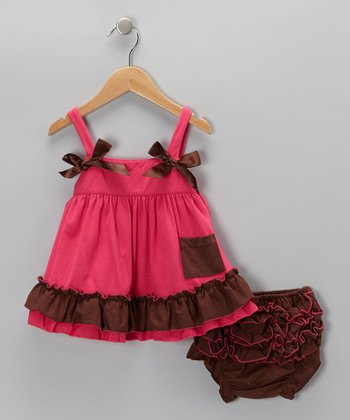 Hot Pink & Chocolate Swing Dress & Bloomers - Infant & Toddler