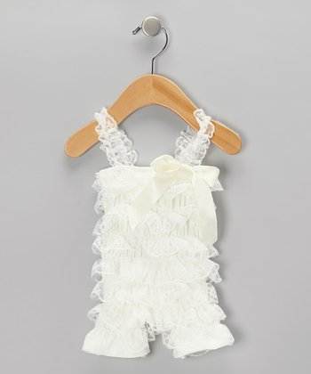 Ivory Lace Ruffle Romper - Infant