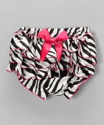 Pink Zebra Satin Ruffle Diaper Cover - Infant