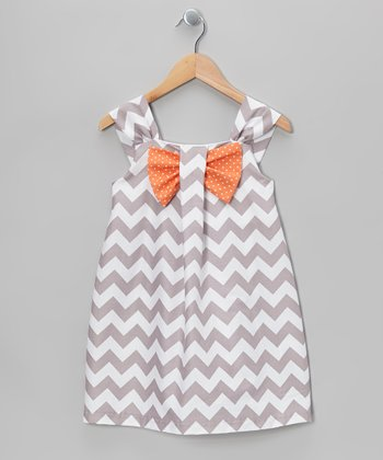 Gray & Apricot Zigzag Bow Dress - Toddler & Girls