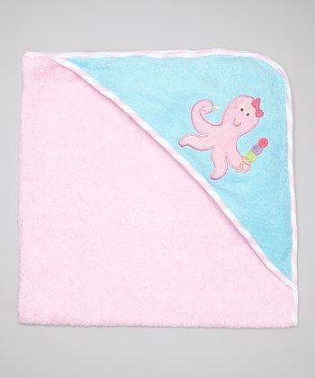Pink Octopus Terry Hooded Towel