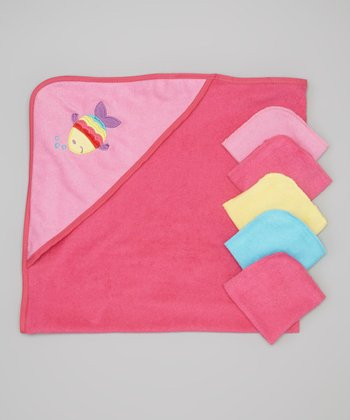 Pink Fish Hooded Towel & Washcloth Set