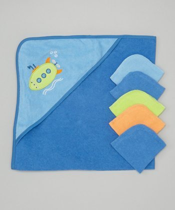 Blue Submarine Hooded Towel & Washcloth Set