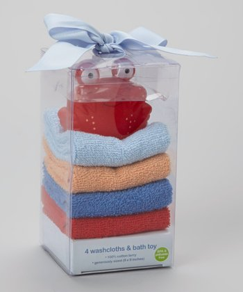 Red Crab Toy & Blue Terry Washcloth Set