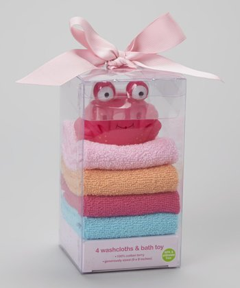 Pink Crab Toy & Blue Terry Washcloth Set