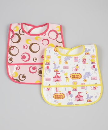 Pink Waterproof Bib Set