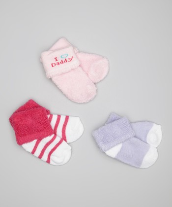 Pink 'I Love Daddy' Socks Set