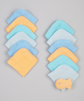 Blue & Yellow Fish Toy & Washcloth Set