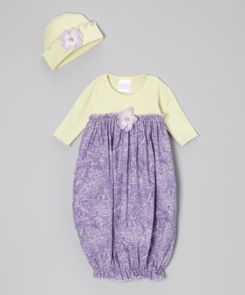 Lime & Lavender Paisley Gown & Beanie - Infant