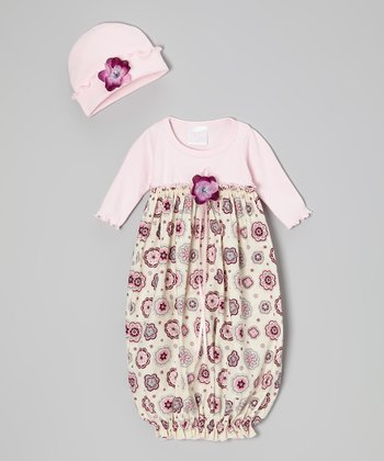 Rose Retro Flower Gown & Beanie - Infant