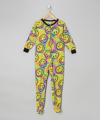 Lime Tie-Dye Smiley Face Fleece Footie - Kids