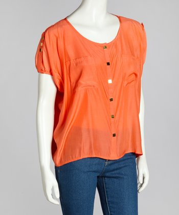 Coral Drape Button-Up Top