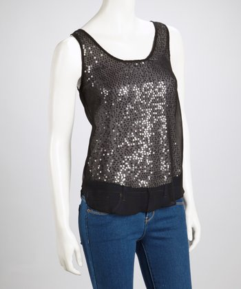 Black Sheer-Back Sequin Top