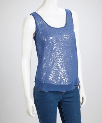 Blue Sheer-Back Sequin Top