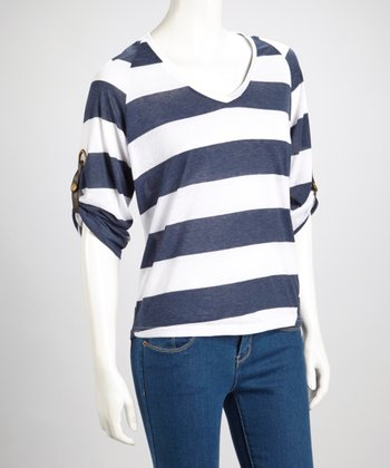 Navy Stripe V-Neck Top