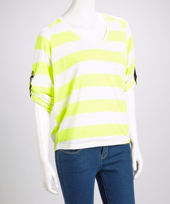 Yellow Stripe V-Neck Top