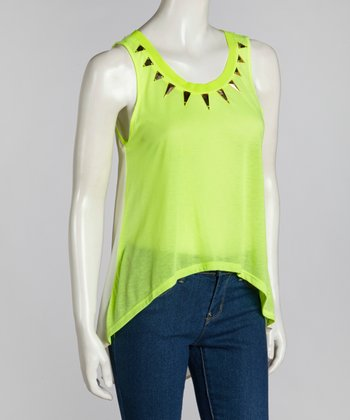 Neon Lime Embellished Sheer Hi-Low Top
