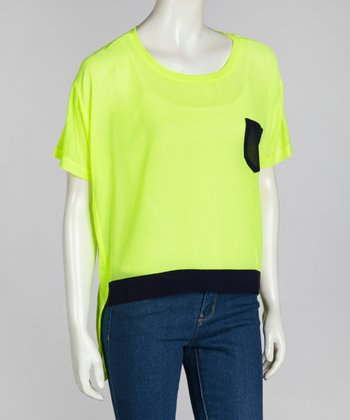 Neon Lime & Navy Pocket Top