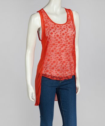 Coral Sheer Pleated Hi-Low Top