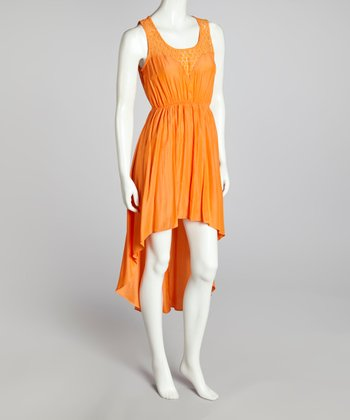 Orange Lace-Yoke Hi-Low Dress