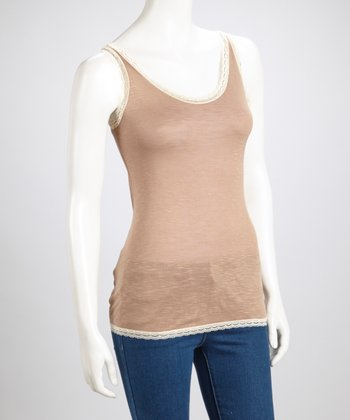Mocha Lace-Trim Top
