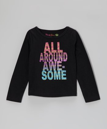 Black 'All Around Awesome' Long-Sleeve Tee - Toddler