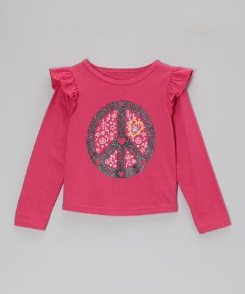 Fuchsia Peace Sign Long-Sleeve Tee - Toddler