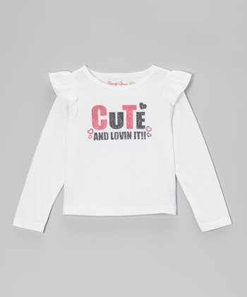 White 'Cute and Lovin It!!' Long-Sleeve Tee - Toddler