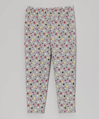 Heather Gray Star Leggings - Toddler