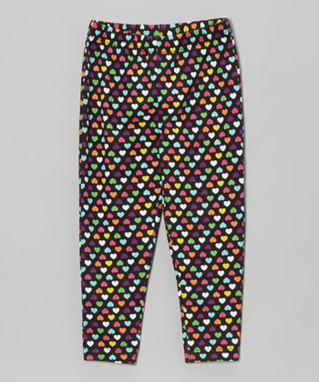 Black Heart Leggings - Toddler