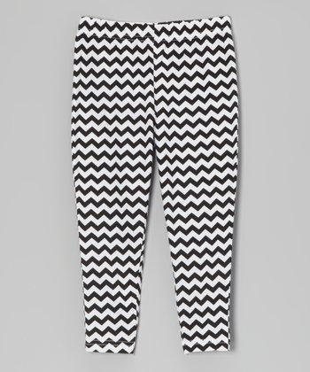 Black & White Zigzag Leggings - Infant, Toddler & Girls