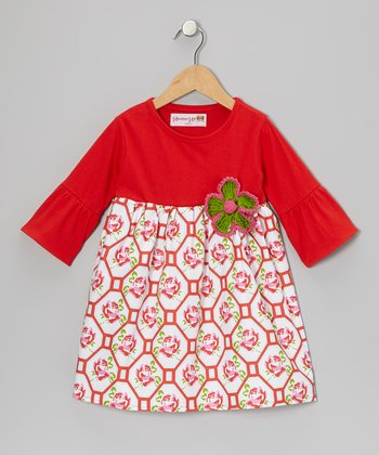 Red Geometric Rose Dress - Toddler & Girls