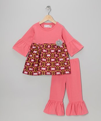 Pink Geometric Tunic & Ruffle Leggings - Toddler & Girls