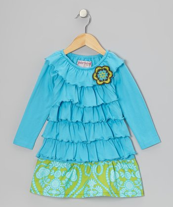 Turquoise & Lime Ruffle Dress - Toddler & Girls