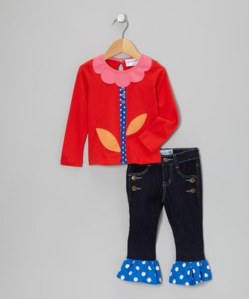 Red Flower Top & Dark Denim Ruffle Pants - Toddler & Girls