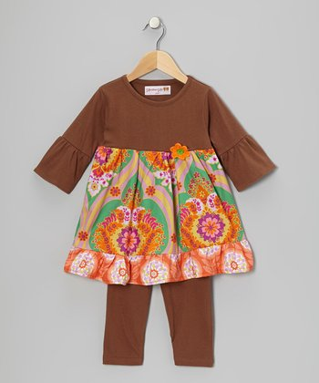 Brown Radiant Tunic & Leggings - Toddler & Girls